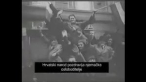 德军进入扎格瑞布,受到市民热烈欢迎的情景。