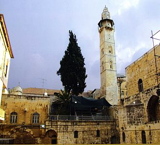 Mosque of Omar (Jerusalem) - Minaret of the Mosque next to the courtyard of the Church of the Holy Sepulchre