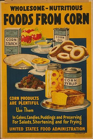 Corn starch - Corn starch shown on a poster, upper left.