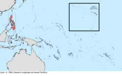 Map of the change to the United States in the Pacific Ocean on June 14, 1900
