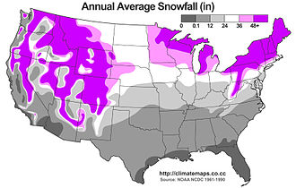 Frost Belt - Snowfall in the United States.