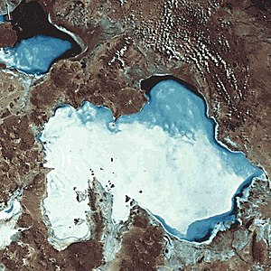 Salar de Uyuni viewed from space, with Salar d...