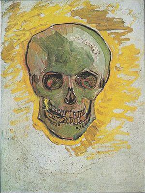 Skull of a Skeleton with Burning Cigarette - Image: Van Gogh Schädel