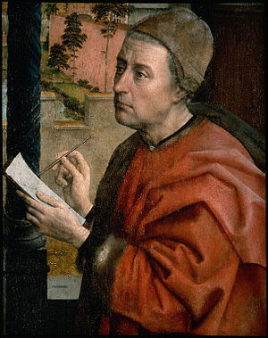 Saint Luke Drawing the Virgin - Detail of Saint Luke; probable van der Weyden self-portrait