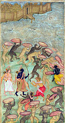 Razmnama: illustration to Persian translation of Ramayana by Akbar
