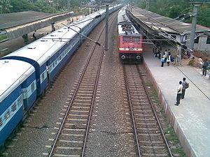 Varkala Sivagiri railway station - Varkala Sivagiri Railway Station view towards south from foot overbridge