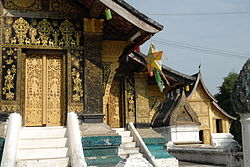 Detail of the rear facade of the temple Wat Xieng Thong in Luang Prabang