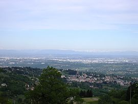 The view, from the hills of Vaugneray, of Lyon and Mont Blanc