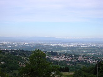 Vaugneray - The view, from the hills of Vaugneray, of Lyon and Mont Blanc