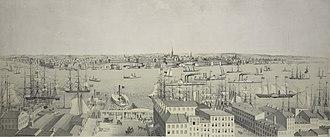 Fulton Ferry, Brooklyn - View of fulton ferry, L.I. From U.S. Hotel, New York 1845