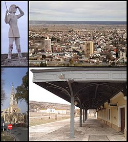 Clockwise from top: Indio Comahue Monument, Downtown Villa Regina, train station and Nuestra Señora del Rosario parish