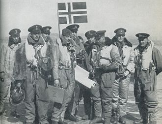 No. 333 Squadron RAF -  May 1942 : back from a mission over Norway. Nordahl Grieg 2nd from right