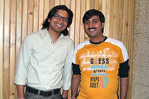 Shaan (singer) - Shaan (left) with Vishnu Mishra (right)