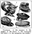 Visières. Historical visors on medieval helmet and peaked caps. Vintage book illustration (encyclopedia plate, chart, line art drawing) from Larousse du XXème siècle 1932.png