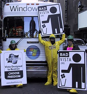 Free Software Foundation anti-Windows campaigns - Bad Vista activists from Boston