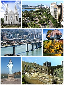 Montages of the city of Vitória, Top left: View of Praça dos Namorados, Top right: Ilha do Boi, Middle left: Terceira Ponte, Middle right: Palacio Anchieta, Bottom left: Morro do Moreno resort area, Bottom right: Night view of Praça dos Namorados