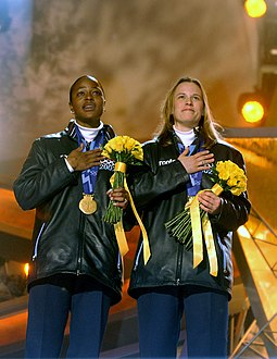 Vonetta Flowers and Jill Bakken during their medal ceremony at the Salt Lake Medal Plaza, after winning gold for the United States in the two-woman bobsleigh Vonetta Flowers and Jill Bakken during the medal ceremony in Salt Lake City.JPEG