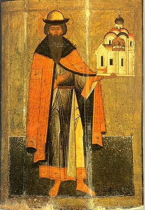 Vsevolod of Pskov - St. Gavriil of Pskov holding the Pskov cathedral in his hand.