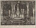 Vuurwerk bij de viering van de Vrede van Utrecht te Rotterdam, 1713 Afbeelding van het Theater en Vuurwerck opgeregt in de Maese door ordre van de Ed. Mog. Heeren de Gecommitteerde Raeden ter Admiraliteyt resideerende t, RP-P-OB-83.450.jpg