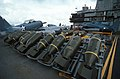 WWII-era bombs and aircraft on USS Lexington (AVT-16) during filming of War and Remenbrance 1987.jpg