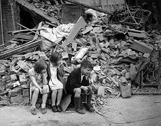 Children in the East End of London, made homeless by the Blitz WWII London Blitz East London.jpg