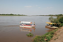 Tourist boats on the Blue Nile at Wad Medani
