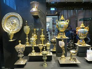 Waddesdon Bequest - The new 2015 display, with Renaissance metalware, most in silver-gilt, and maiolica