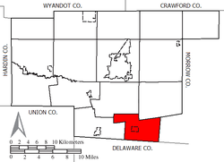Location of Waldo Township in Marion County