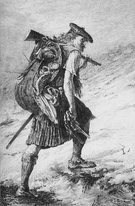 Disbanded, Waverley in Highland garb, illustration to 1893 edition, by J Pettie. Walter Scott Waverley illustration (Pettie-Huth).jpg