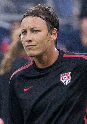 Abby Wambach - Wambach warming up for an international friendly match against Canada, September 2011