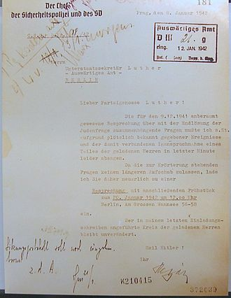 Wannsee Conference - Letter from Heydrich to Martin Luther, Undersecretary at the Foreign Office, inviting him to the Wannsee Conference (Wannsee Conference House Memorial, Berlin)