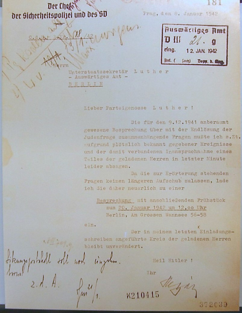 Wannsee Conference - Letter from Reinhard Heydrich to Martin Luther (Invitation)