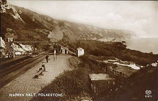 Folkestone Warren Halt railway station former train station in Kent, England