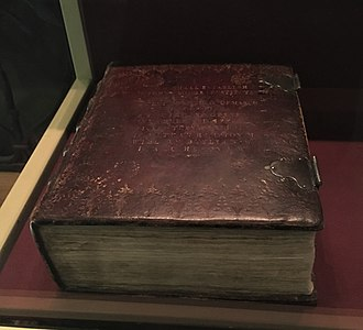 George Washington Inaugural Bible - Inaugural bible as displayed at Federal Hall National Memorial