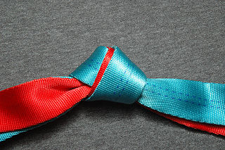 Water knot A knot frequently used in climbing for joining two ends of webbing together.