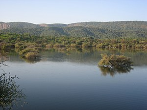 Aravalli Range - A lake nested within Aravali Hills.