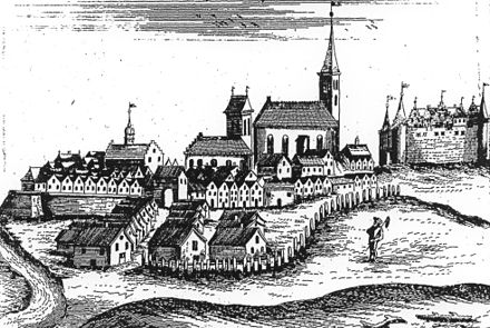 17th-century view of Wegobork (now Wegorzewo), a typical Masurian town Wegorzewo Hartknoch 1684.jpg