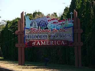 Canada–United States border - Sign welcoming drivers into the United States at the Peace Arch between Blaine, Washington and Surrey, British Columbia