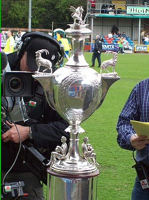 Bangor City F.C. - The Welsh Cup is the second oldest national trophy in world football. Above, on display before Bangor City's victory over Welsh Premier League rivals Llanelli in the 2008 final at Latham Park, Newtown.