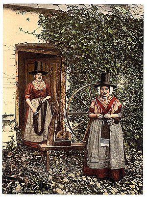 Traditional Welsh costume - A late 19th century photo of women in a rural Welsh costume