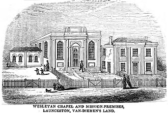 Launceston, Tasmania - Wesleyan Chapel and Mission-Premises, Launceston, Van-Diemen's Island (p.66, June 1855)