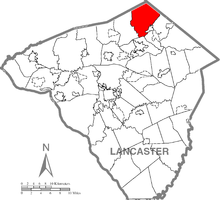 Map of Lancaster County, Pennsylvania highlighting West Cocalico Township