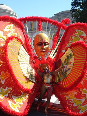 Labor Day Carnival - A woman in an elaborate costume marches towards the end of the parade route, September 1, 2008.