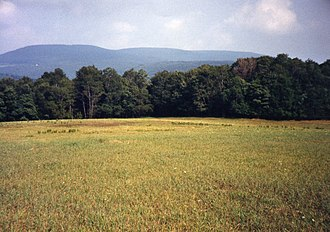 Blue Knob (Pennsylvania) - The west aspect of Blue Knob receives prevailing winds. (Photo taken from meadow at 2,400 ft.)