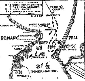 George Town, Penang - A 1914 map from the New York Times depicting the Battle of Penang.