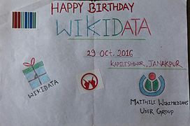 Wikidata 4th birthday, Art by Tulsi Bhagat in the context of Maithili Wikimedians User Group.jpeg