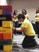 Wikimania 2015-Wednesday-Volunteers play Weasel-Jenga (1).jpg