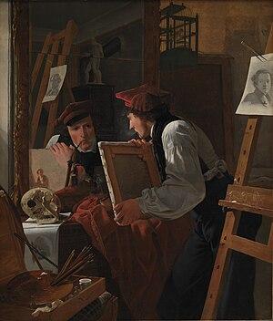 A Young Artist (Ditlev Blunck) Examining a Sketch in a Mirror - Image: Wilhelm Bendz Ung kunstner (Ditlev Blunck betragter en skitse i et spejl)