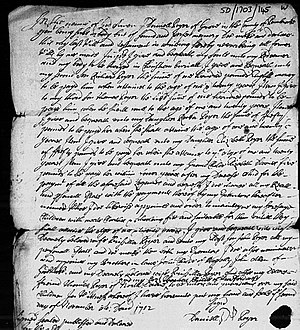 The Grove, Narberth - The Will of Daniel Poyer, 1703