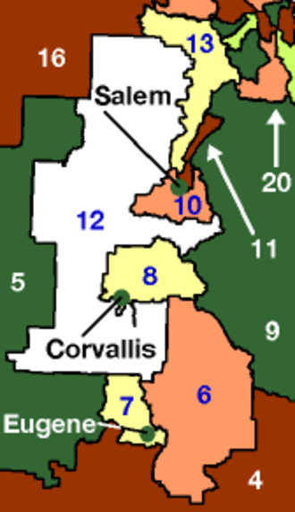 Oregon state elections, 2006 - Image: Willamette valley senate districts